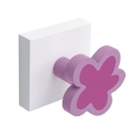 percha pared base blanca con 1 flor lila 998li