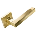 door handle 2 door handles set on square rosette bright brass satin brass finish manufactured in brass mapalma