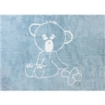 blue teddy bear child rug in washing machine washable cotton ot az image