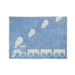 blue train child rug in washing machine washable cotton tr az image