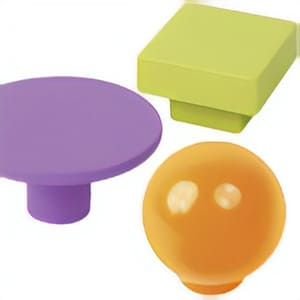 Knobs and Handles of Colored Plastic